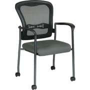 Office Star Proline II® ProGrid® Back Fabric Guest Chair with Arm, Casters and Titanium Finish,Gray