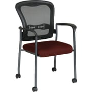 Office Star Proline II® ProGrid® Back Fabric Guest Chair with Arm,Casters & Titanium Finish,Burgundy