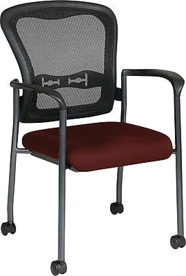 Office Star Proline II® ProGrid® Back Fabric Guest Chair with Arm, Casters & Titanium Finish, Burgundy