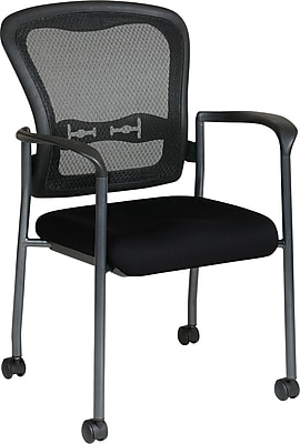 Office Star Proline II® ProGrid® Back Fabric Guest Chair with Arm, Casters & Titanium Finish, Black