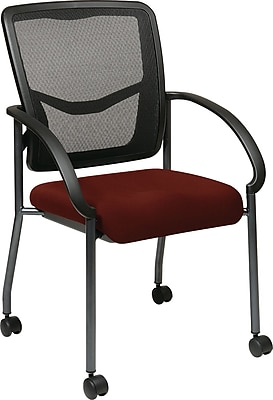 Office Star Proline II® ProGrid® Back Fabric Visitor's Chair with Arm, Burgundy