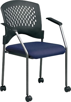 Office Star Proline II® Fabric Titanium Finish Guest Chair with Plastic Wrap Around Back, Navy