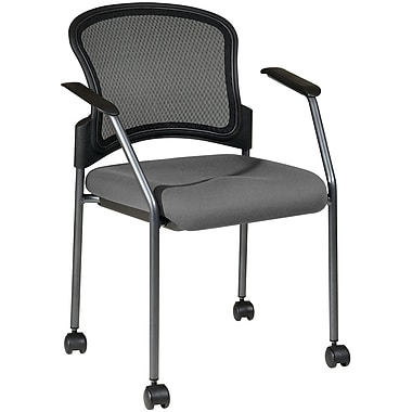Office Star Proline II® Fabric Titanium Finish Rolling Guest Chair, Gray