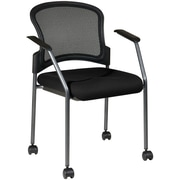 Office Star Proline II® Fabric Titanium Finish Rolling Guest Chair, Black