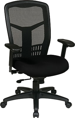 Office Star Proline II® ProGrid® Back Fabric Guest Chair with Arms and Titanium Finish, Black