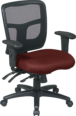 Office Star Fabric Managers Office Chair, Burgundy, Adjustable Arm (92893-227)