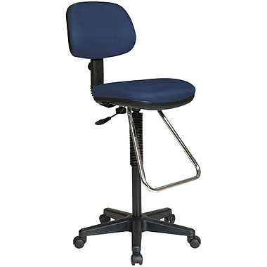 Office Star WorkSmart™ Fabric Economical Drafting Chairs with Chrome Teardrop Footrest