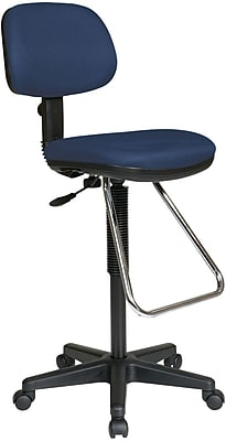 Office Star DC430-225 Work Smart Fabric Armless Drafting Chair, Navy