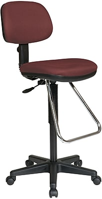 Office Star DC430-227 Work Smart Fabric Armless Drafting Chair, Burgundy