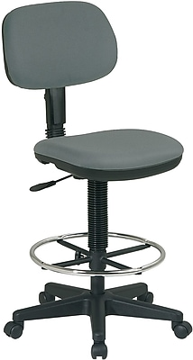 Office Star DC517-226 Work Smart Fabric Armless Drafting Chair, Gray