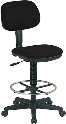 Office Star Fabric Drafting Chair, Armless, Black