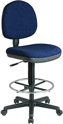 Office Star WorkSmart Navy Mid-Back Fabric Drafting Chair, Armsless