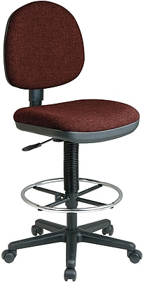 Office Star WorkSmart Mid-Back Fabric Drafting Chair, Armless, Red