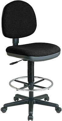 Office Star DC640-231 Work Smart Fabric Mid-Back Armless Drafting Chair, Black