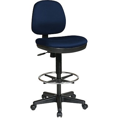 Office Star DC800-225 Work Smart Fabric Mid-Back Armless Drafting Chair, Navy