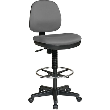 Office Star WorkSmart Mid-Back Fabric Drafting Chair, Armless, Gray