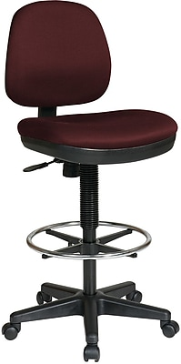 Office Star DC800-227 Work Smart Fabric Mid-Back Armless Drafting Chair, Burgundy