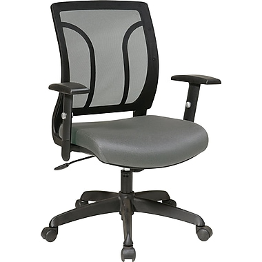 Office Star WorkSmart Mesh Computer and Desk Office Chair, Adjustable Arms, Gray (EM50727-226)