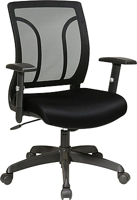 Office Star Fabric Screen Back Chair with Mesh Seat and Height Adjustable Arm, Black