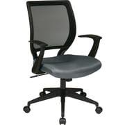 "Office Star WorkSmart™ Polyester Black Screen Back Task Chair with ""T"" Arm, Gray"