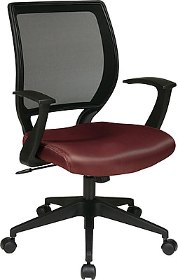 Office Star WorkSmart Plastic Bankers Office Chair, Fixed Arms, Burgundy (EM51022N-227)