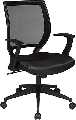Office Star WorkSmart Plastic Bankers Office Chair, Fixed Arms, Black (EM51022N-231)