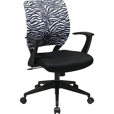 Office Star Fabric Computer and Desk Office Chair, Zebra, Fixed Arm (EM51022N-SL237)