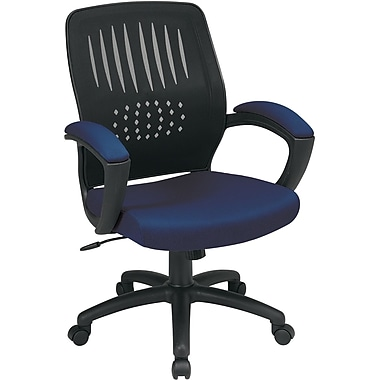Office Star WorkSmart Fabric Computer and Desk Office Chair, Fixed Arms, Navy (EM59722-225)