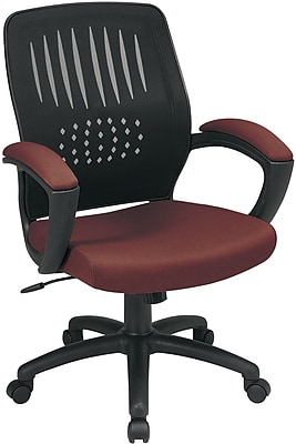 Office Star WorkSmart Fabric Computer and Desk Office Chair, Fixed Arms, Burgundy (EM59722-227)