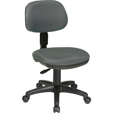 Office Star Fabric Computer and Desk Office Chair, Gray, Armless Arm (SC117-226)