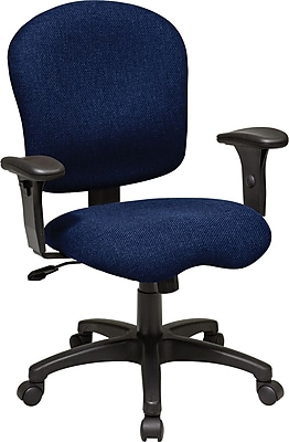 Office Star WorkSmart Fabric Computer and Desk Office Chair, Adjustable Arms, Navy (SC66-225)