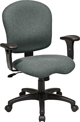 Office Star WorkSmart Fabric Computer and Desk Office Chair, Adjustable Arms, Gray (SC66-226)