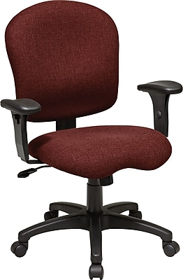 Office Star WorkSmart Fabric Computer and Desk Office Chair, Adjustable Arms, Burgundy (SC66-227)
