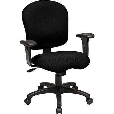 Office Star SC66-231 Work Smart Fabric Mid-Back Task Chair with Adjustable Arms, Black