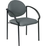 Office Star WorkSmart™ Fabric Stacking Chair with Arm and Plastic Shell Back, Gray