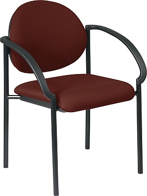 Office Star WorkSmart™ Fabric Stacking Chair with Arm and Plastic Shell Back, Burgundy