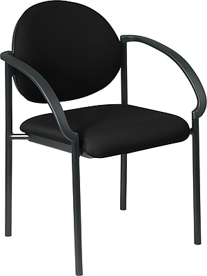 Office Star WorkSmart™ Fabric Stacking Chair with Arm and Plastic Shell Back, Black
