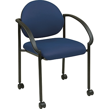 Office Star WorkSmart™ Fabric Stacking Chair with Arm, Casters and Plastic Shell Back, Navy