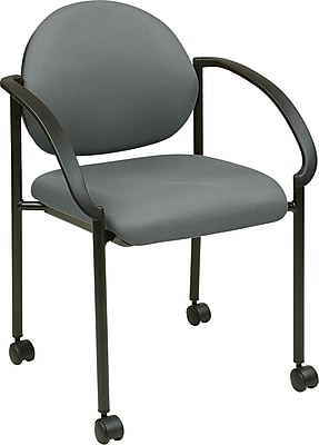 Office Star WorkSmart™ Fabric Stacking Chair with Arm, Casters and Plastic Shell Back, Gray