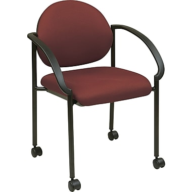 Good Office Star WorkSmart™ Fabric Stacking Chair With Arm, Casters And Plastic  Shell Back,