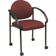 Office Star WorkSmart™ Fabric Stacking Chair with Arm, Casters and Plastic Shell Back, Burgundy