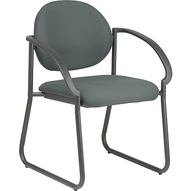 Office Star WorkSmart™ Fabric Deluxe Sled Base Arm Chair, Gray