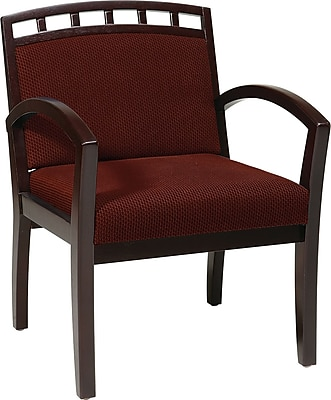 Office Star WorkSmart™ Fabric Deluxe Mahogany Finish Guest Chair, Burgundy