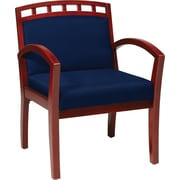 Office Star WorkSmart™ Fabric Deluxe Cherry Finish Guest Chair, Navy
