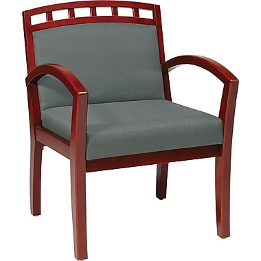 Office Star WorkSmart™ Fabric Deluxe Cherry Finish Guest Chairs, Gray