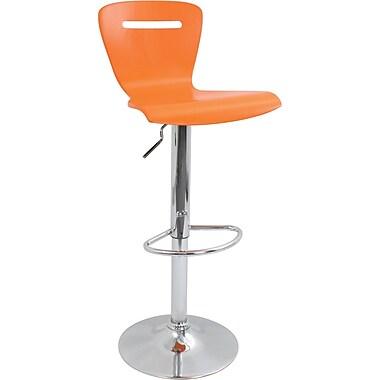LumiSource H2 Bent 41'' Modern Adjustable Height Bar Stool, Orange (BS-TW-H2O)