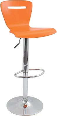 LumiSource H2 Bent 41'' Modern Adjustable Height Bar Stool, Orange (BS-TW-H2O)