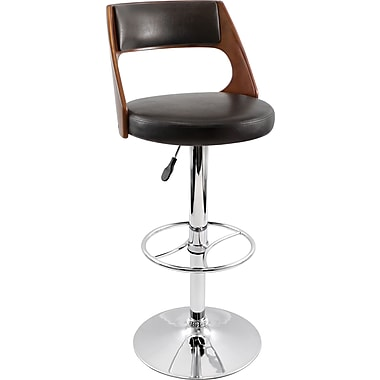 Lumisource Presta Leatherette Wood Bar Stool, Cherry/Brown (BS-JY-PRS CH+BN)