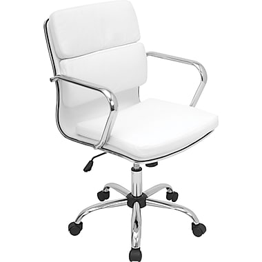 Lumisource Padded Leatherette Mid Back Bachelor Office Chair, Black (OFC-AC-BAC W)