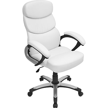 LumiSource Leather Managers Office Chair, Fixed Arms, White (OFC-AC-DOCW)